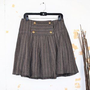 Marc By Marc Jacobs Striped Gray Tan Pleated Skirt